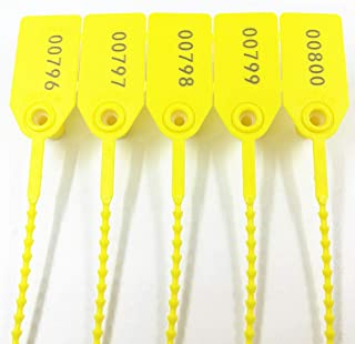 250mm Pull-Tite Plastic Security Seals Shipping Tags Disposable Signage Numbered(Package of 100) (Yellow)