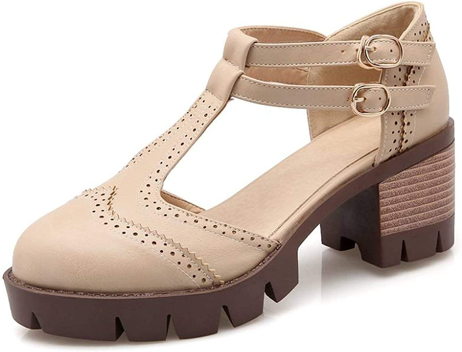 Betterluse Shallow Flats Rome T Straps Chunky Heels Summer Woman Outdoor Casual Dress Girl Gladiator Sandals