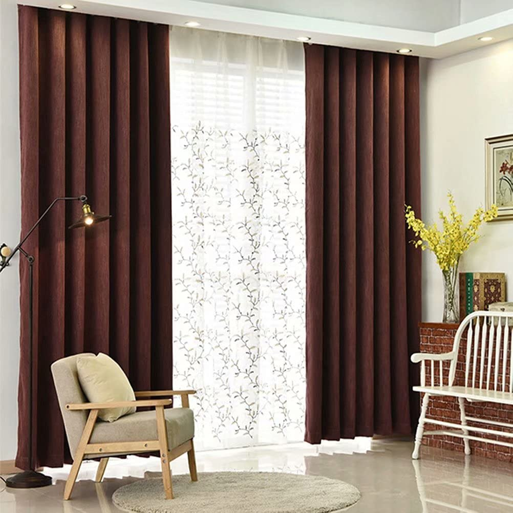 MacoHome Red Textured In a popularity Linen Drapes Decoretive Ranking TOP4 Pane Lined Grommet