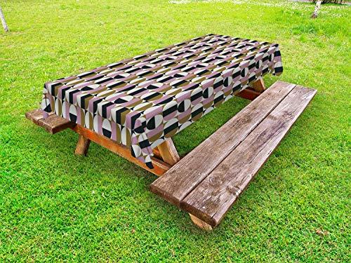 ABAKUHAUS Retro Outdoor-Tischdecke, Bauhaus geometrisches Muster, dekorative waschbare Picknick-Tischdecke, 145 x 305 cm, Mehrfarbig