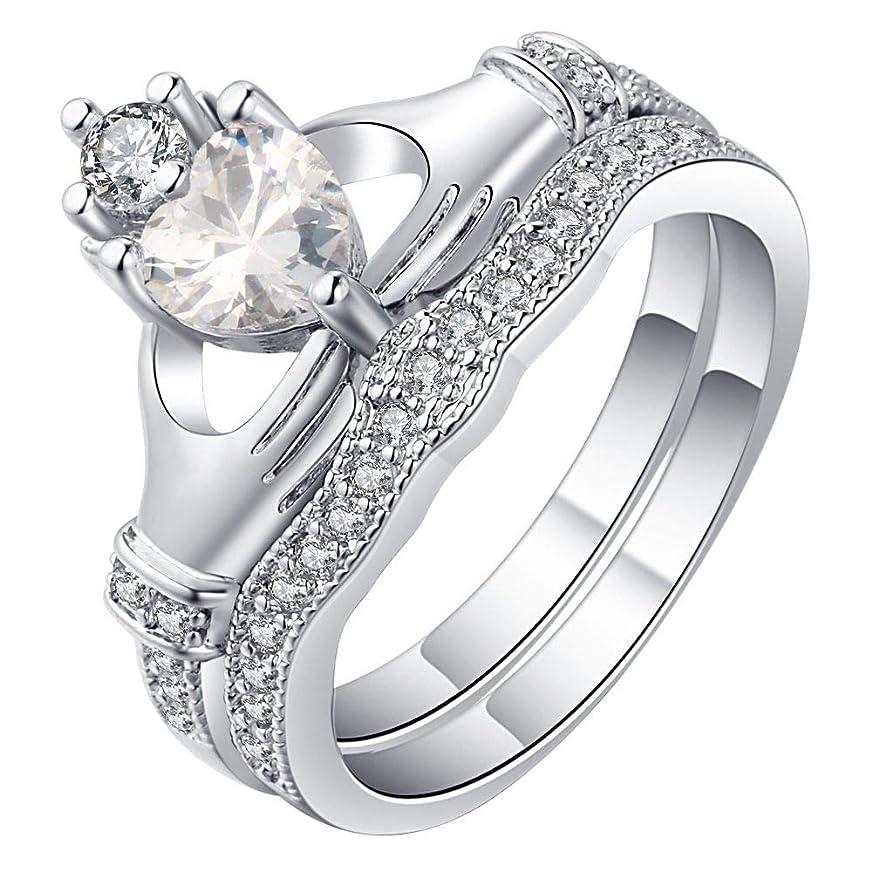 鉄道病なプレゼントWoo2u 二点セット 指輪 リング 婚約指輪 レディース オシャレ シンプル 華奢 ファッション ハート型 ジルコニア シルバー約19号