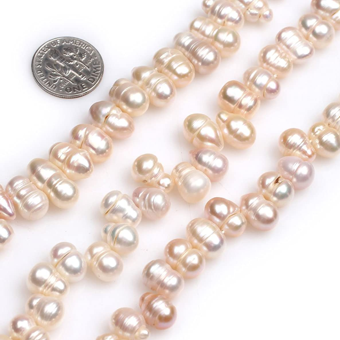 GEM-inside 8x10mm White Drilled Pearls Loose Pearls Strand Beads for Jewelry Making Jewelry Beading Supplies for Women