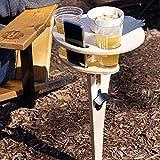 woyada Mesa de vino portátil al aire libre con mesa de playa redonda plegable para arena y hierba, mini mesa de picnic de madera, fácil de llevar la playa Snack mesa de queso