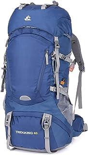 Mochilas de Senderismo 50L/65L con Cubierta Impermeable Mochila de Marcha Trekking Macutos para Viajes Excursiones Acampadas Trekking Camping Deporte al Aire Libre