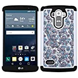 LG G Stylo/G Vista 2 Case, Mybat European Flowers Dual Layer [Shock Absorbing] Protection Hybrid Rubberized Hard PC/Silicone Case Cover with Diamond for LG G Stylo LS770/G Vista 2, Purple/White