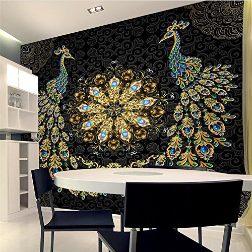 3D Wallpaper Wandbild Benutzerdefinierte Tapete Luxus Schwarz Gold Edelstein Pfau Hintergrund Tapeten 150Cmx100Cm