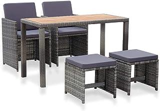 vidaXL Madera Maciza Acacia Set de Comedor Jardín 5 Piezas Conjunto de Muebles al Aire Libre Patio Terraza Mesa Sillas Exterior Ratán Sintético Gris