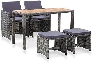 vidaXL 5 Piece Solid Acacia Wood Outdoor Dining Set Dinner Table and Armchairs Backyard Terrace Garden Patio Porch Furnitu...