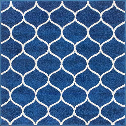Unique Loom Trellis Frieze Collection Lattice Moroccan Geometric Modern Square Rug, 4 Feet, Navy Blue/Ivory Iowa