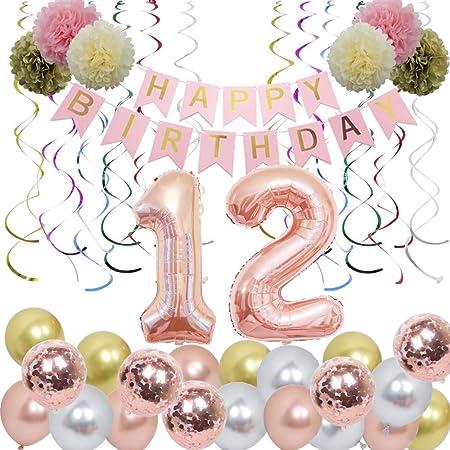 "12th BIRTHDAY BALLOON 18/"" AGE 12 COLOURFUL CONFETTI CANDLES FOIL UNIQUE BALLOON"