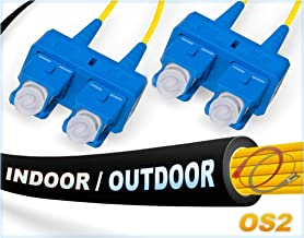 FiberCablesDirect - 1M OS2 SC SC Fiber Patch Cable | Indoor/Outdoor Duplex 9/125 SC to SC Singlemode Jumper 1 Meter (3.28ft) | Length Options: 0.5M-300M | smf sc-sc dx Single-Mode in/Outdoor Black