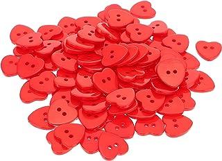 VALICLUD 100 peças de botão de costura de resina, botões em formato de coração, botão vermelho com 2 furos, botões decorat...