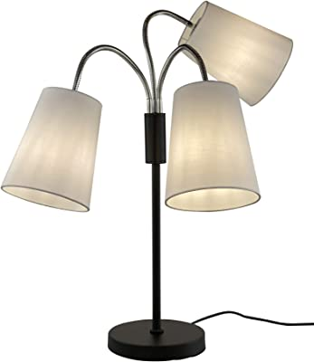 3 Light Adjustable Table Lamp by Light Accents - Medusa 3 Light Desk Lamp - Multi Head Standing Lamp with 3 Adjustable White Fabric Reading Lamps - Lamps for Living Room (Black)