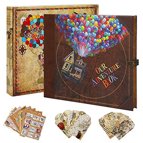 Nuestro libro de aventuras de scrapbook, álbum de recortes, diseño retro, páginas...