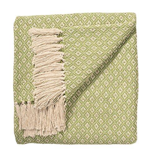 Fair-Trade-Tagesdecke, weich & handgewebt, Sofa-Überwurf, Web-Muster mit lilafarbenem Diamant, 100 prozent Baumwolle, 130 cmx 180cm, TH136SA