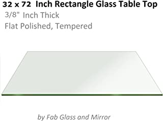 Fab Glass and Mirror Rectangle Glass Table Top, 32