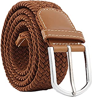 EONGERS Belt for Mens Braided Stretch Belt with No Holes Elastic Fabric Woven Belts