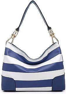 Dasein Women Hobo Purse Shoulder Bag Bucket Handbag with Big Hook Hardware Dual Snap Closure