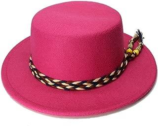 女性男性ヴィンテージ100%ウールワイドブリムキャップポークパイポークパイ山高帽ヴィンテージタッセルロープバンドファッション帽子 帽子 (色 : ローズレッド, サイズ : 54cm)