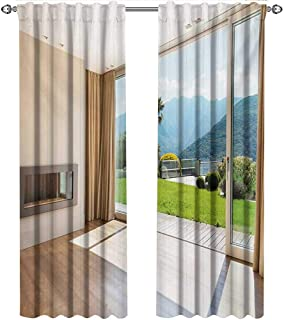 shenglv Modern, Party Curtains Decorations, Room with Scenic View House Mountains Palm Trees Greenery Garden Print, Curtains for Kitchen, W72 x L108 Inch, Pale Brown Green White