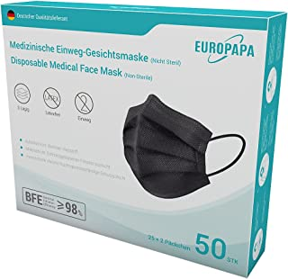 EUROPAPA® 50x Schwarz Medizinisch Type IIR Norm EN 14683 TÜV CE zertifizierte Mundschutzmasken OP Masken 3-lagig Mundschut...