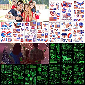 Konsait 90+ Pcs Fourth of July Temporary Tattoos Glow in the Dark Patriotic Temporary Tattoos USA Flags Temporary Tattoo for Memorial Day Independence Day Labor Day Party Favors Decorations