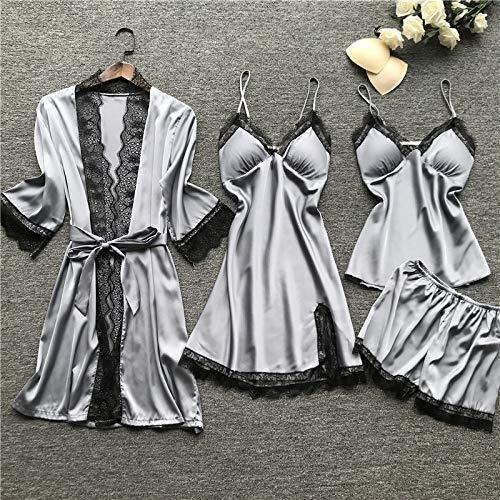 HAIBI Mujer Albornoz Bata Mujer Sexy 4 Piezas Gris Ropa De Dormir Pijamas Satén Kimono Bata Camisón Conjunto Señoras Casual Suelta Ropa De Casa, L