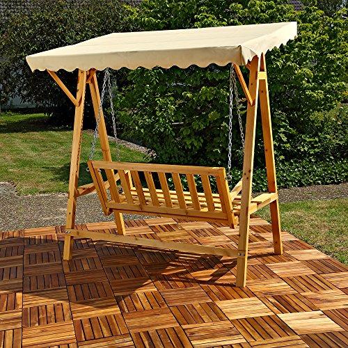 Melko Hollywoodschaukel Holz 188 x 161 x 88 cm Schwingliege Gartenschaukel Hängeschaukel Schaukelbank - 3