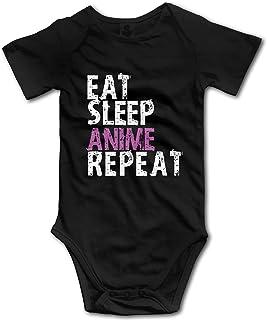 Acener Eat Sleep Anime Repeat Baby Jungen Kleidung Kurzarm Babyanzug Lustige Unisex Weste Neugeborene Strampler Outfit Baumwolle