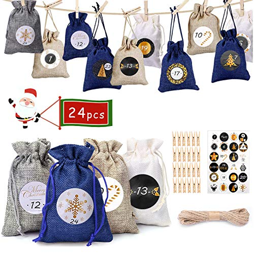 NewPI Adventskalender zum Befüllen Kinder, Weihnachtskalender zum Befüllen, Adventskalender Säckchen, Geschenksäckchen, Zahlen-Aufklebern 24 Pcs. (Blau)