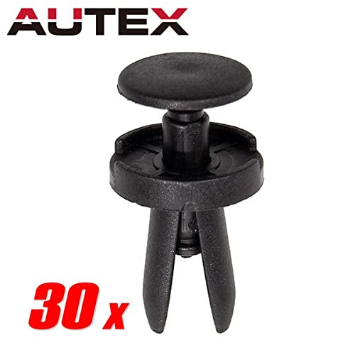 PartsSquare AUTEX 30pcs Nylon Bumper Clips Push-Type Retainer Fender Liner Fastener Rivet Auto Body
