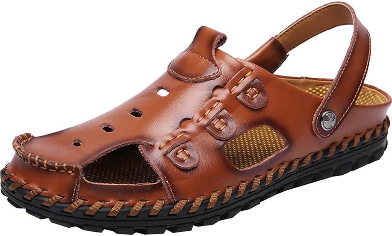 GHFJDO Men Hiking Sandals,Outdoors Closed Toe Hook Loop Mesh & PU Upper Adjustable Heel Strap Sandals,Walking shoes Summer Beach shoes