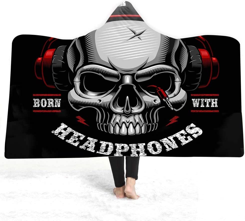 Soft Bedroom Blankets Hooded Blanket Winter Skull Pattern Print Outlet sale Classic feature