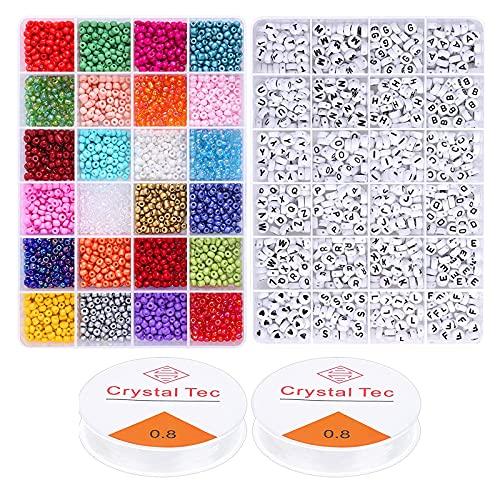 SM SunniMix Kit de 4000 Piezas de Cuentas Coloridas y Cuentas de Letras en 24 Colores con 2 Rollos de Hilo elástico Surtidos para Pulseras, Collares, llaveros de