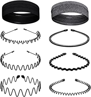 Eosxrp 6Pcs Metal Hair Bands and 2Pcs Sport Headbands for Men Women Spring Wavy Ordinary Hair Hoop Comb Headwear Sweatband...