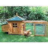 zoo-xxl Hühnerhaus Hühnerstall Hühnervoliere Helma ca. 194.00 x 73 x 98.00 cm mit Freilauf mit Nistkasten für draußen