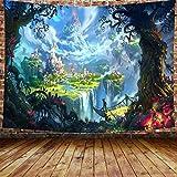 awesocrafts - arazzo da appendere alla parete, motivo: castello, foresta, psichedelico, per camera da letto, università, dormitorio, soggiorno, decorazione da parete (castello, 150 x 200 cm)
