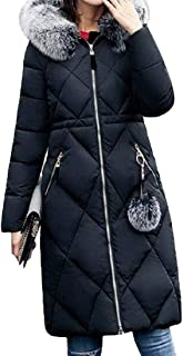 Womens Casual with Hood Drawstring Long Sleeve Zipper Pockets Down Overcoats Coat Outwear