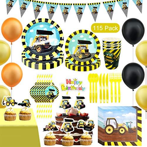 Amycute 115-teiliges Party Set * Bagger & Baustelle * für Kindergeburtstag mit 10 Kinder: Banner, Tellern, Tassen, Servietten, Luftballons | Baustelle Geburtstag Deko Set .