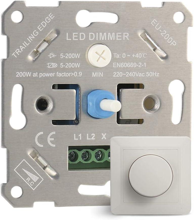 IWILCS LED Interruptor Regulador de Luz, Regulador de Intensidad LED Giratorio Interruptor de Atenuación LED de 5-200 W Empotrable para Regulable LED Incandescente Bombillas