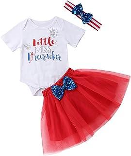 506c8bd98c571 Tranyee 3 pcs Baby Girls Letter Print Bodysuit Red Sequin Bowknot Tutu Dress  Set with Headband