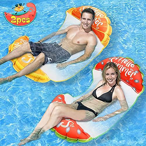 lenbest 2 Pack Amaca Gonfiabile, Galleggiante Gonfiabile Pieghevole Letto Lounge Materassino Sedia Sdraio da Mare Piscina Spiaggia Giardino per Adulti Bambini (Giallo Rosso)