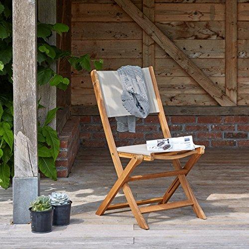 Chaise Pliante en Bois d'acacia FSC et textilène