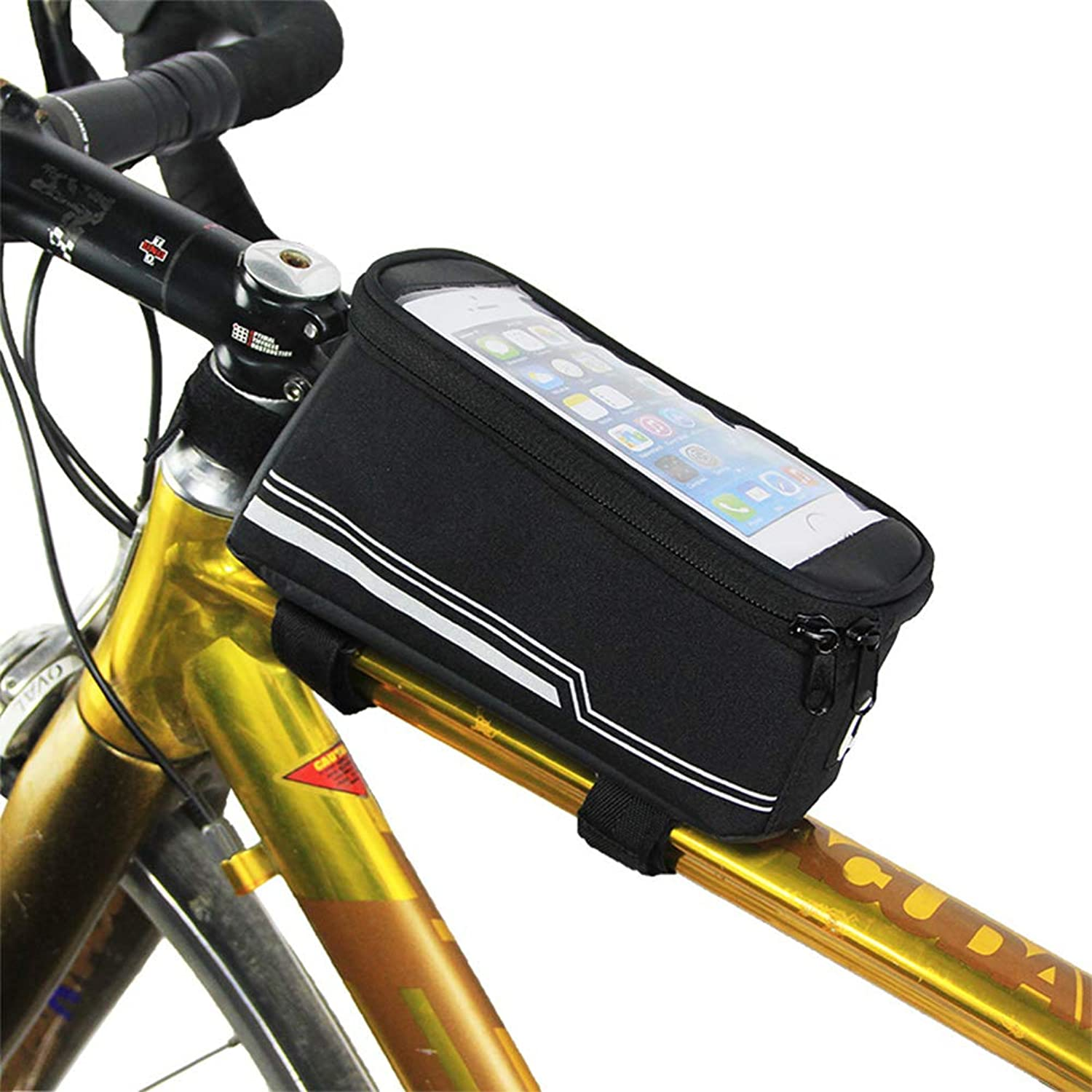 Bicycle Bags Bicycle Front Tube Frame Handlebar Bag Touch Tcreen 5.7 Inches Mobile Phone Bags Suitable for Outdoor Cycling