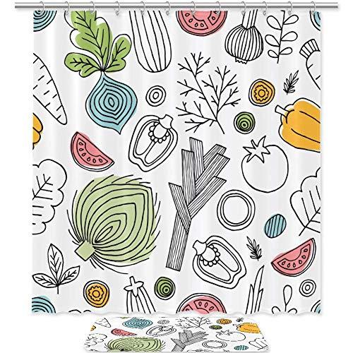 TIZORAX Gemüse & Obst Bad Duschvorhang Set mit rutschfesten Bad Teppiche Bodenmatte Home Decoration