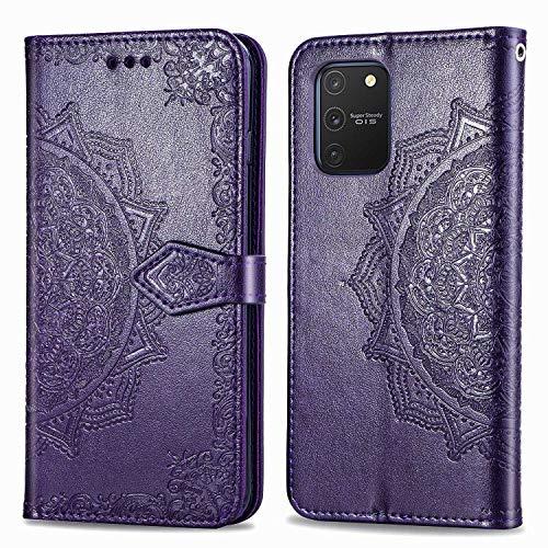 Bear Village Hülle für Galaxy S10 Lite/Galaxy A91, PU Lederhülle Handyhülle für Samsung Galaxy S10 Lite/Galaxy A91, Brieftasche Kratzfestes Magnet Handytasche mit Kartenfach, Violett