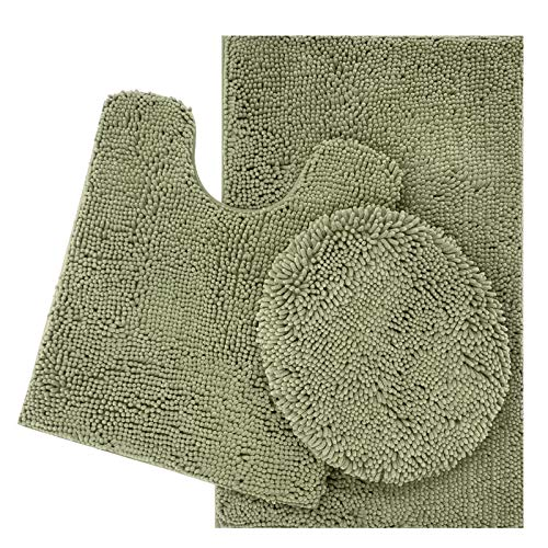 ITSOFT 3pc Non-Slip Shaggy Chenille Bathroom Mat Set, Includes 24 x 21 Inches U-Shaped Contour Toilet Rug, 34 x 21 Inches Bathmat and 1 Toilet Lid Cover, Sage Green