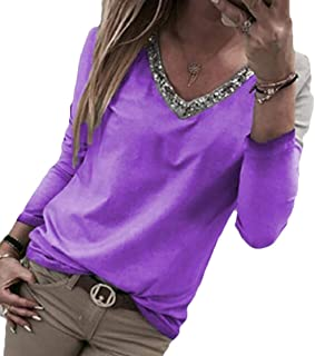 Domple Women's V Neck Pure Color Large Size Sequins Casual Long Sleeve Blouse Top Tee
