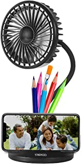 Desk Fan Lamp TREKOO 2600mAh Rechargeable Battery Powered USB Personal Fan 3 Speeds 3 Light Brightness Flexible Gooseneck Small LED Lamp Table Fan Compatible with Adapter/PC/Power Bank/Car Charger