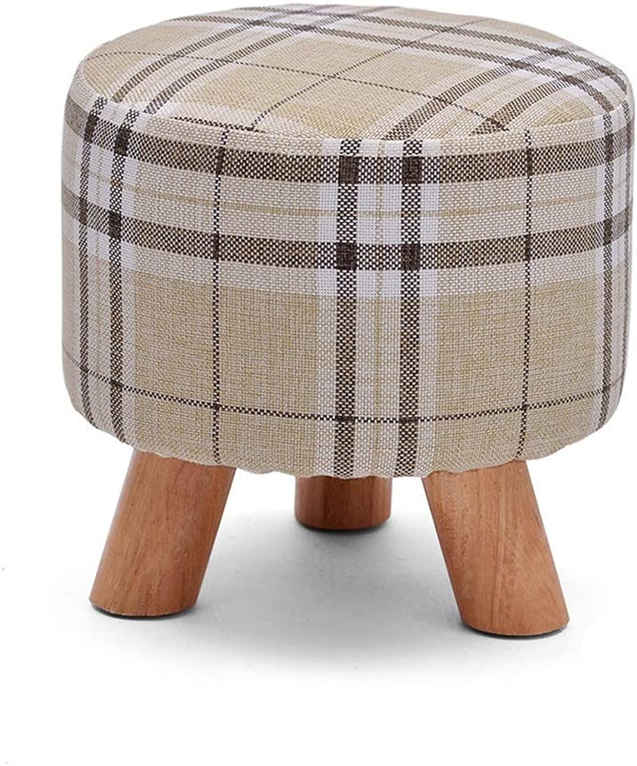 ZZHF dengzi Footstool, Round Padded Wooden Leg Fabric Cotton Sofa Living Room Bedroom Home shoes Bench (color   4, Size   29  28cm)